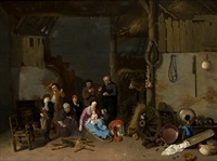 escena familiar de interior by david ryckaert iii