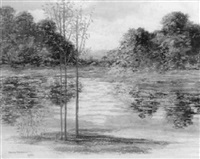 early autumn river landscape by hedley waycott