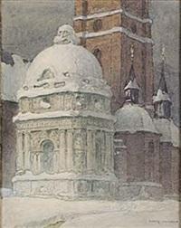 riddarholmskyrkan i vinterskrud by ferdinand boberg