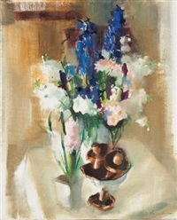 still life with flowers and mushrooms by louis van heerden
