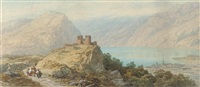 figure passing the ruined castle by the lake of wallenstadt by charles vacher