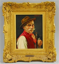 portrait of a man smoking a pipe by franz xavier wölfle