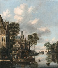 river landscape with men playing