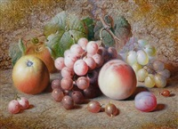 still life of fruit (+ still life of fruit; pair) by charles archer