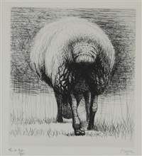 sheep back view (from sheep album) by henry moore
