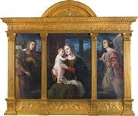 maria mit dem kinde von engeln angebetet, triptychon, mitteltafel maria mit dem kind, linke und rechte tafel anbetende engel by luma von flesch-brunningen