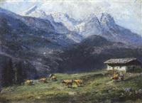 sennerin mit kuhherde auf der alm by ludwig coreggio
