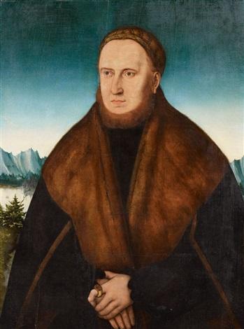bildnis eines bärtigen mannes mit kappe und pelzverbrämten mantel by lucas cranach the elder