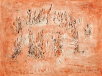 holiday, figures in an orange landscape by norman lewis