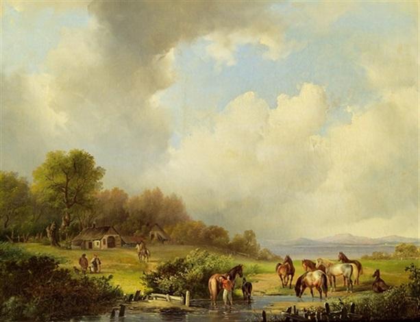 pferde an einem fluß by johann gualbert raffalt