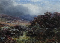 in the scottish hills, the heather in flower by james faed the younger