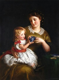 Mother and her daughter having tea, 1862