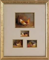 sketches of chickens and chicks (4 works in 1 frame) by mary russell smith