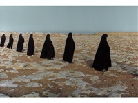 rapture series (women in a line) by shirin neshat