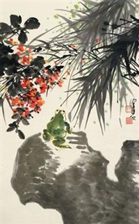 蛙趣 立轴 设色纸本 by chen peiqiu