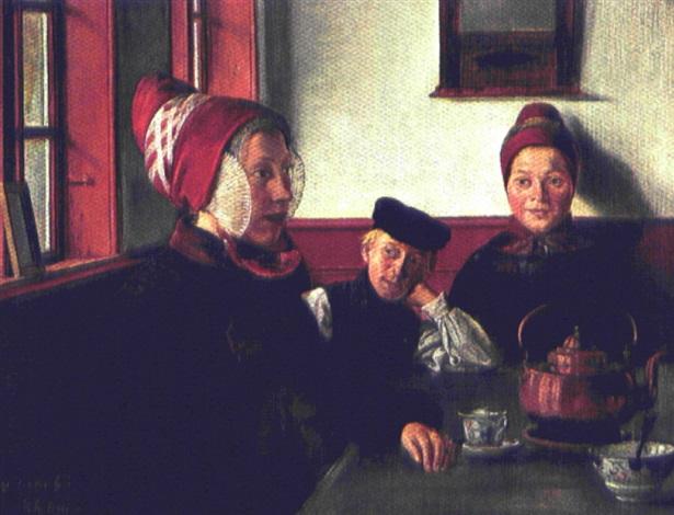 almueinterior med ung pige der får serveret kaffe by christian jens c thorrestrup