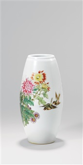 粉彩花鸟瓶 (famille-rose vase with birds and flowers pattern) by deng xiaoyu