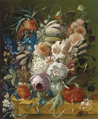 blumenstillleben (+ another; pair) by georg frederik ziesel
