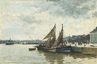 fishing boats returning to harbour, honfleur by edward seago