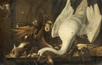 still life with a swan, asparagus, game and vegetables by elias vonck