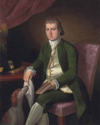 portrait of a gentleman, traditionally identified as christopher inman, three-quarter-length, in a white waistcoat and green coat by ralph earl