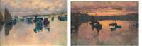 deux vues de bretagne: un port au couchant et personnages sur une plage (pair) by mathurin janssaud