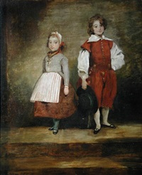 portrait of a small boy and a small girl in costume by ann mary (nee severn) newton