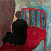 sitzender mann auf rotem bett by alexandra wacker