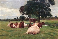 landscape and cattle by otto weber