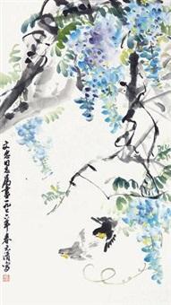 紫藤双雀图 by xu yuanqing