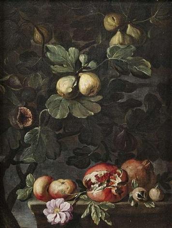 stilleben mit feigenbaum sowie äpfeln rose und granatäpfeln auf einem steinpodest stilleben mit weinstock sowie äpfeln blüten und birnen auf einem steinpodest pair by abraham brueghel