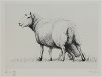 sheep with lamb, from, sheep album by henry moore