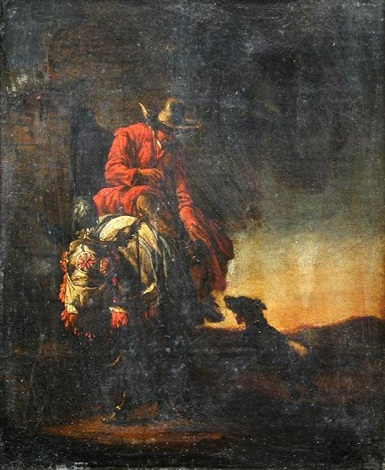 a sportsman with a hound in a landscape by dirk van bergen