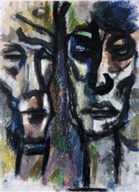 zwei köpfe (+ darstellung eines paares, verso) by heinz tetzner