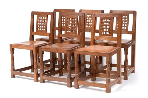 Awesome A Set Of Six Oak Lattice Back Dining Chairs By Robert Caraccident5 Cool Chair Designs And Ideas Caraccident5Info