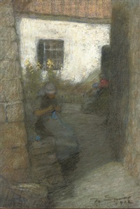 young women knitting in the shade (+ by the cottage; pair) by mark