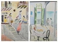 landscape and figure studies (set of 9) by shimshon holzman