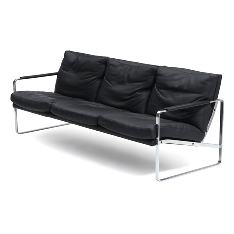 A Three Seater Sofa With Chromed Steel Frame By Preben Fabricius