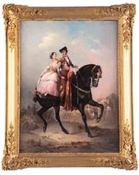 pareja galante a caballo by manuel rodriguez
