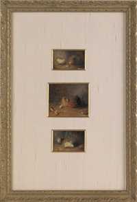 sketches of chickens and chicks (3 works in 1 frame) by mary russell smith