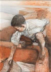 niño en la fuente by manuel alcorlo