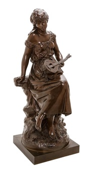 a french bronze figure depicting a female lute player seated on rockery by auguste louis mathurin moreau