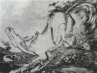 ausschlagenes pferd by hans grundig