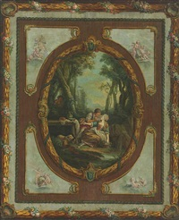 a couple picnicking in a garden with a spy in the background; a lute player with a couple and a child; a shepherdess playing a flute (3 works) by jean dieudonne deneux