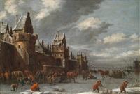 eine winterlandschaft mit schlittschuhläufern by klaes molenaer