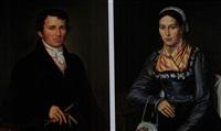 portraits eines ehepaares in münchner festtagstracht (pair) by joseph anton rhomberg