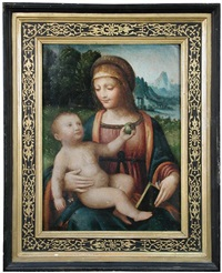 the madonna and child, with the christ child holding an apple and a flower by bernardino luini