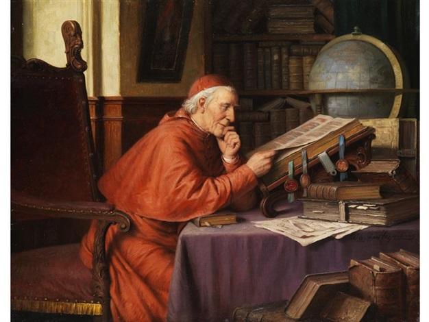 kardinal in der studierstube beim bücherstudium by josef wagner hohenberg