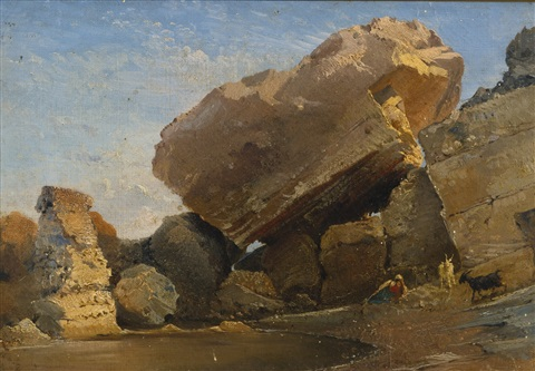 goatherd with goats in a rocky inlet by giacinto gigante