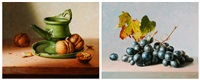 green jug with walnuts - grapes (2 works) by gyula andreas bubárnik